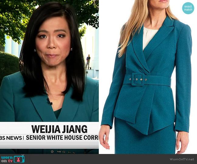 Tahari ASL Asymmetrical Belted Water Repellent Pebble Crepe Jacket worn by Weijia Jiang  on CBS Mornings