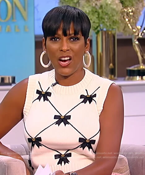 Tamron's bow embellished knit vest on Tamron Hall Show