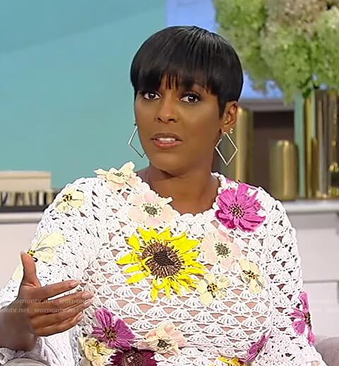 Tamron's white floral crochet dress on Tamron Hall Show