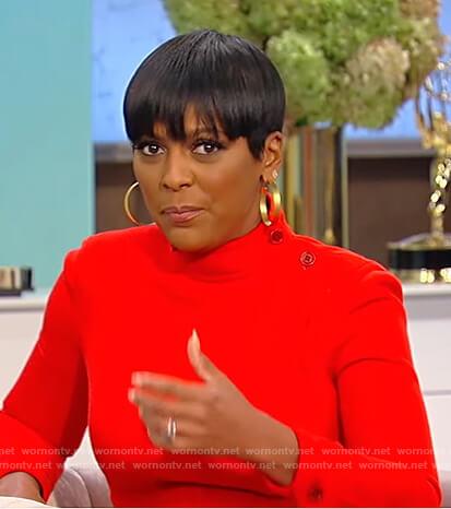 Tamron's red mock neck mini dress on Tamron Hall Show