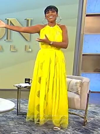 Tamron's yellow sleeveless lace dress on Tamron Hall Show