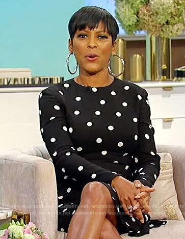 Tamron's black polka dot dress on Tamron Hall Show