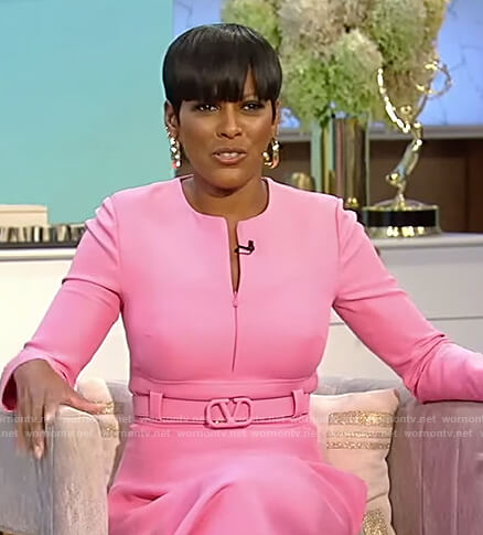 Tamron's pink belted dress on Tamron Hall Show