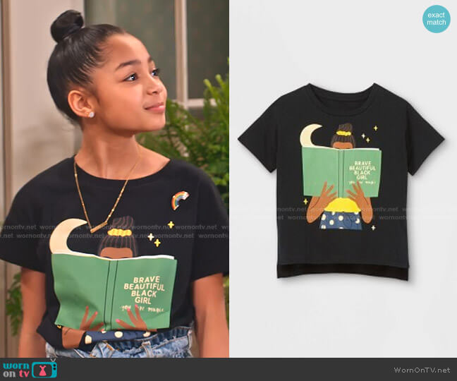 Brave Beautiful Black Girl Short Sleeve Graphic T-Shirt worn by Ami (Jordyn Raya James) on Family Reunion