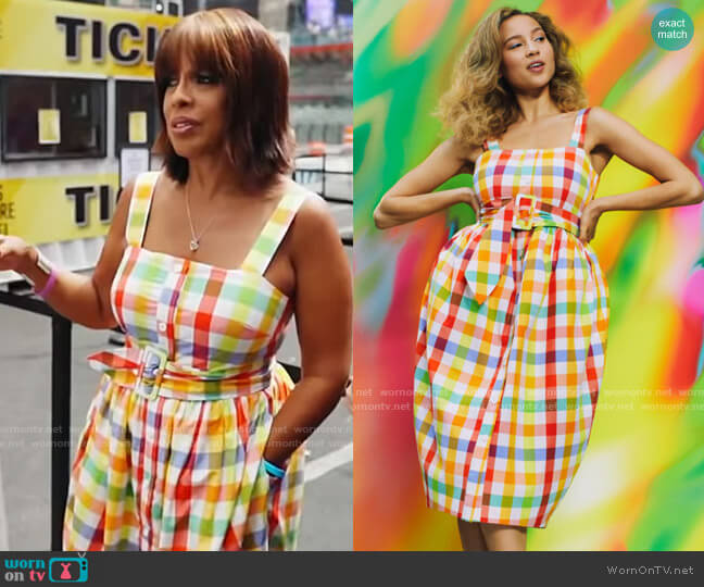 Christopher John Rogers for Target Plaid Wide Strap Tie Waist Dress worn by Gayle King  on CBS Mornings