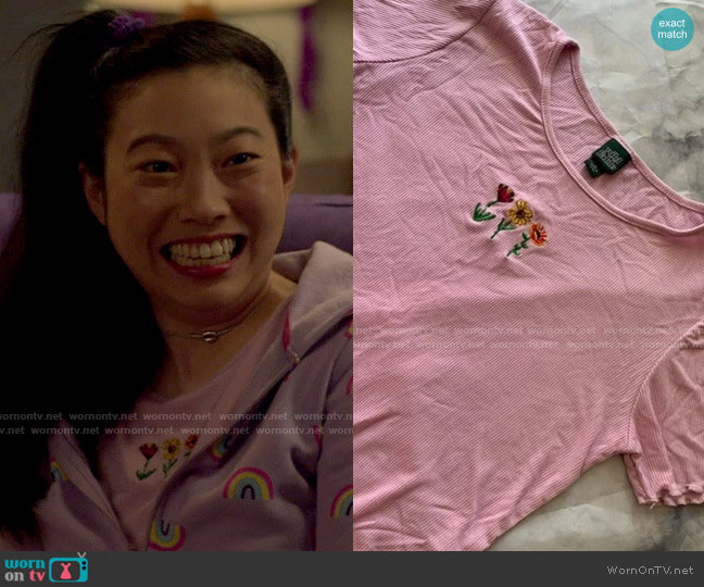 Target Wild Fable Flower Embroidered Top worn by Nora Lum (Awkwafina) on Awkwafina is Nora From Queens