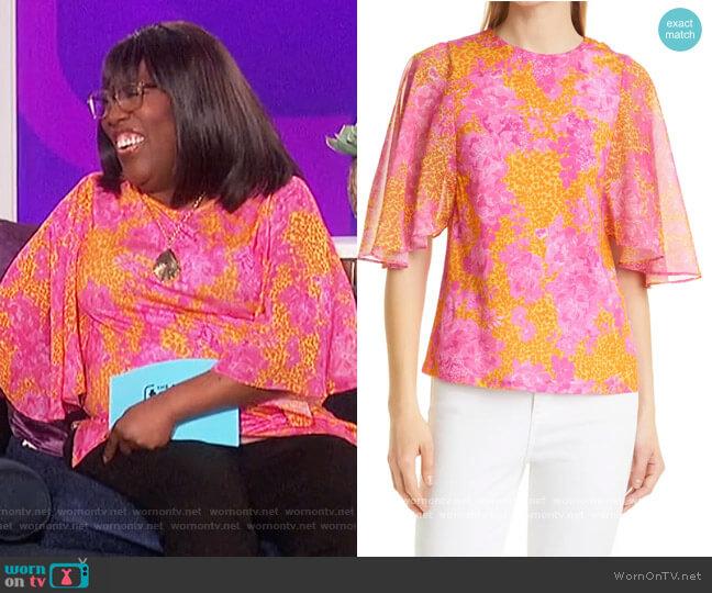 Metropolis Print Flutter Sleeve Blouse by Ted Baker worn by Sheryl Underwood  on The Talk