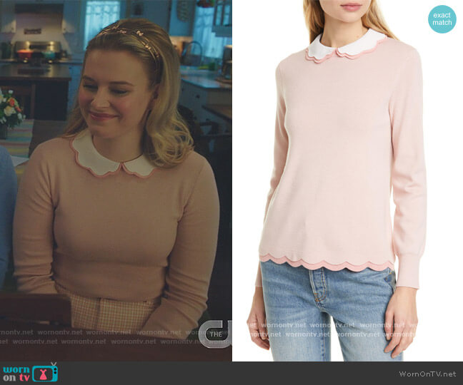 Lheo Scallop Detail Layered Sweater by Ted Baker worn by Polly Cooper (Tiera Skovbye) on Riverdale
