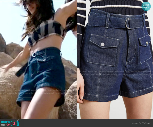 Ted Baker Belted Denim Shorts worn by Kendall (Kaia Gerber) on American Horror Story