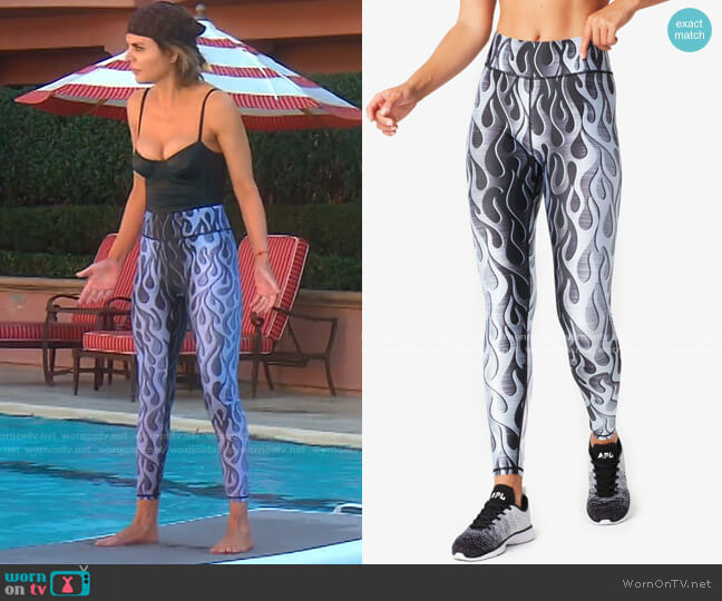 Titanium Hi-Shine Leggings by Torch'd x Terez worn by Lisa Rinna  on The Real Housewives of Beverly Hills