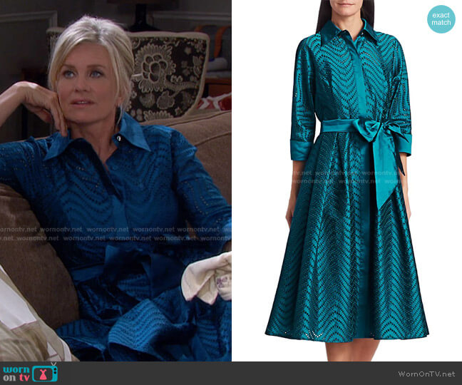 Taffeta Jacquard Lace Eyelet A-Line Belted Shirtdress by Teri Jon worn by Kayla Brady (Mary Beth Evans) on Days of our Lives