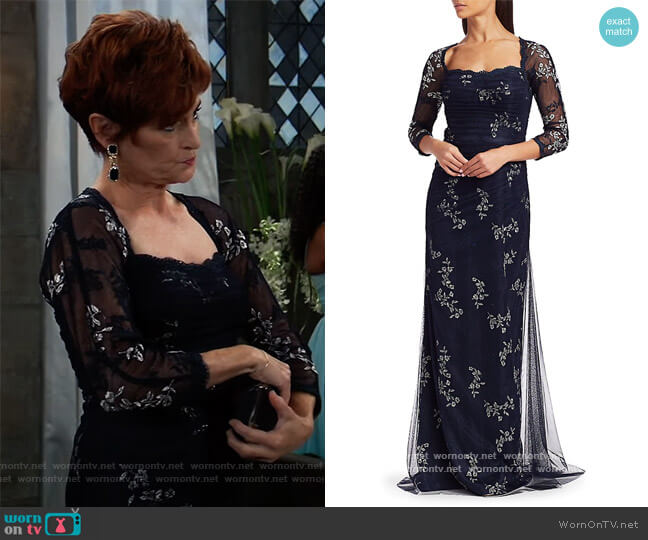 Mesh Long-Sleeve Embroidered Floral Gown by Teri Jon by Rickie Freeman worn by Carolyn Hennesy on General Hospital