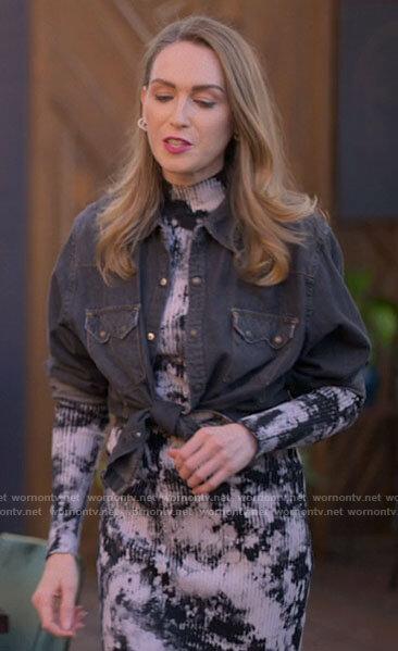 Tess's tie dye rib knit dress and black shirt on The L Word Generation Q