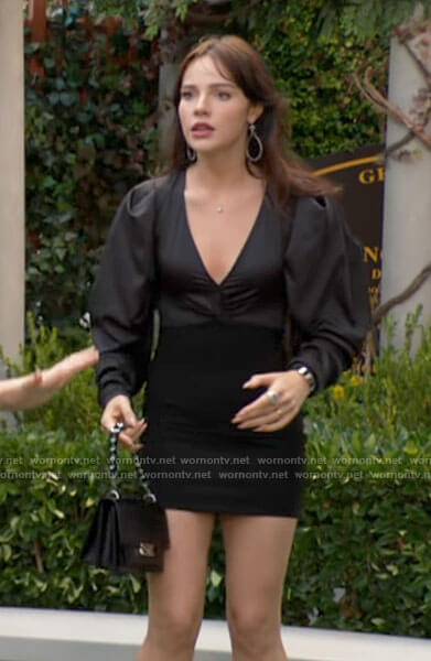 Tessa's black v-neck puff sleeve mini dress on The Young and the Restless