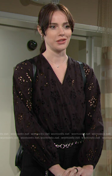 Tessa's black eyelet top on The Young and the Restless