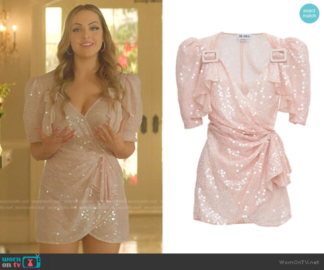 Rose Mini Wrap Dress by The Attico worn by Fallon Carrington (Elizabeth Gillies) on Dynasty