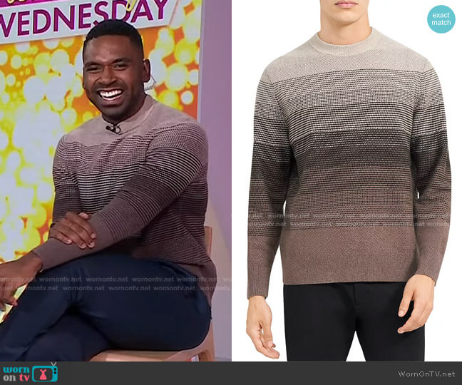 Burton Striped Sweater by Theory worn by Justin Sylvester on Today