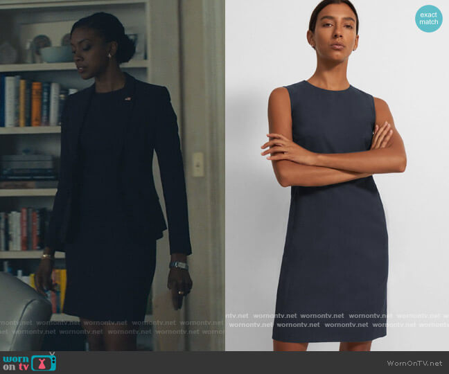 Sleeveless Fitted Dress in Good Wool by Theory worn by Kate Sacker (Condola Rashad) on Billions