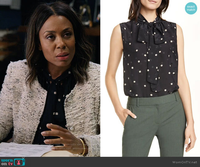 Theory Square Dot Tie Neck Sleeveless Silk Blouse worn by Mia Jordan (Karen Pittman) on The Morning Show