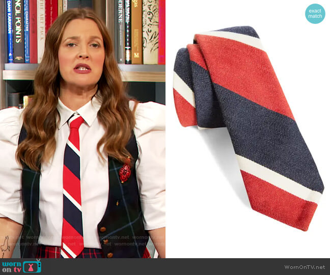 Stripe Tie by Thom Browne worn by Drew Barrymore  on The Drew Barrymore Show