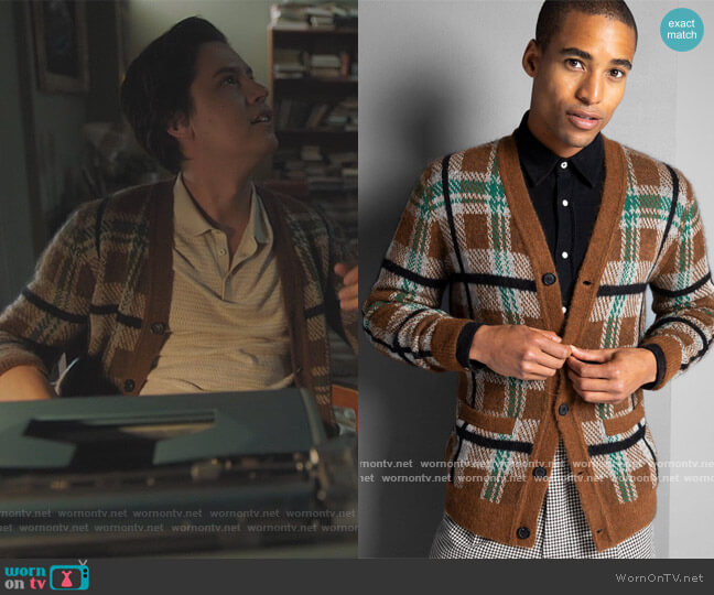 Plaid Cardigan by Todd Snyder worn by Jughead Jones (Cole Sprouse) on Riverdale
