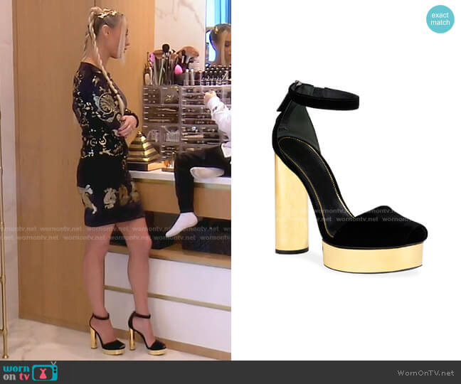 Velvet Platform Sandals by Tom Ford worn by Dorit Kemsley  on The Real Housewives of Beverly Hills