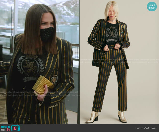 Stripe Blazer and Pants by Tommy Hilfiger worn by Meredith Marks  on The Real Housewives of Salt Lake City