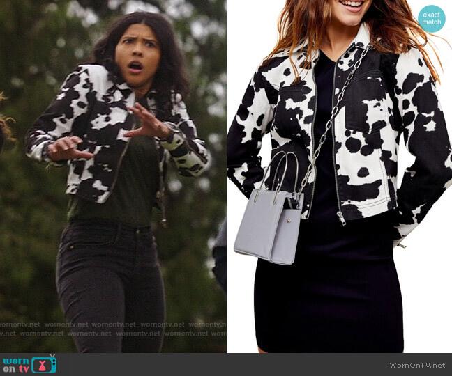 Topshop Cow Print Denim Jacket worn by Esperanza Cruz (Lisseth Chavez) on Legends of Tomorrow