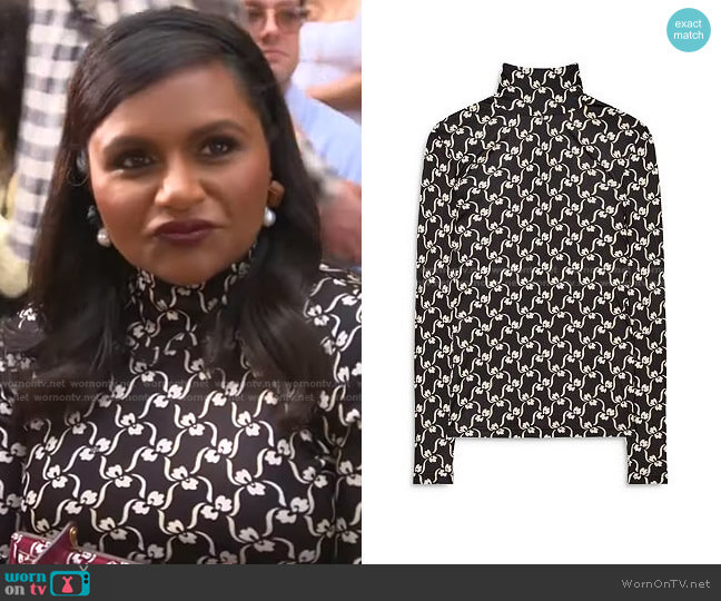 Silk Printed Turtleneck by Tory Burch worn by Mindy Kaling on E! News Daily Pop