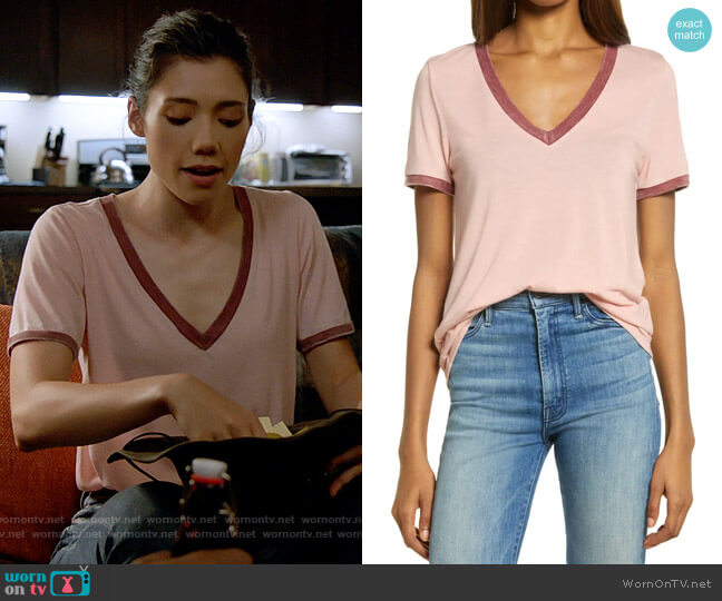Treasure & Bond Ringer V-Neck T-Shirt in Pink Smoke / Red Combo worn by Violet Mikami (Hanako Greensmith) on Chicago Fire