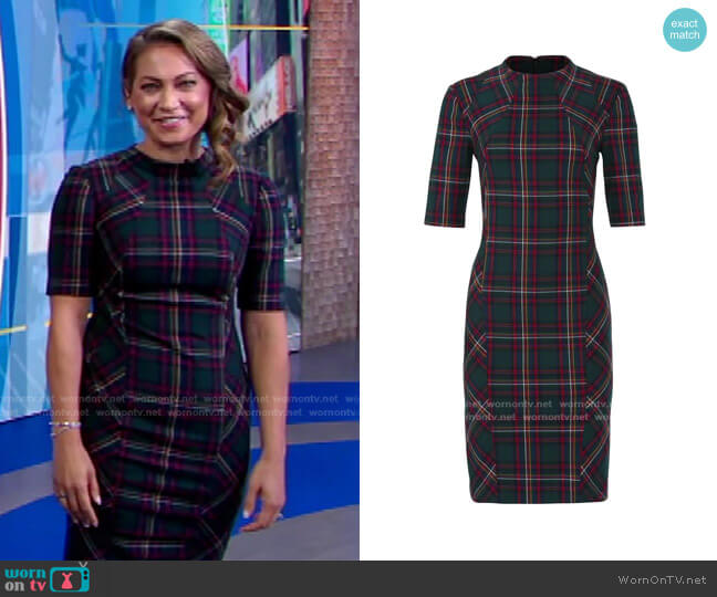 Plaid Aperitif Dress by Trina Turk worn by Ginger Zee  on Good Morning America