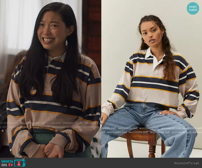 Urban Outfitters Jefferson Cropped Rubgy Polo Shirt worn by Nora Lum (Awkwafina) on Awkwafina is Nora From Queens
