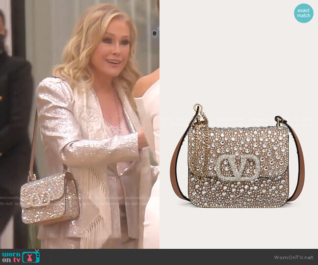 VSLING Shiny Calfskin Shoulder Bag with Crystal Embellishments by Valentino worn by Kathy Hilton  on The Real Housewives of Beverly Hills