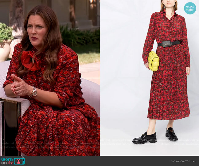Lip Print Silk Shirt and Skirt by Valentino worn by Drew Barrymore  on The Drew Barrymore Show