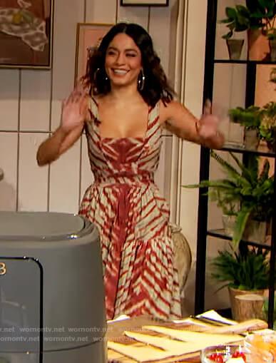 Vanessa Hudgens striped sleeveless dress on The Drew Barrymore Show