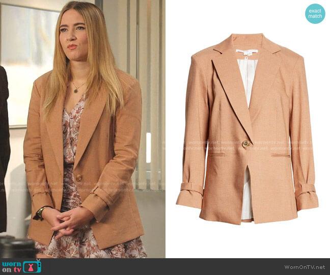 Amadi Dickey Jacket by Veronica Beard worn by Amanda Carrington (Eliza Bennett) on Dynasty