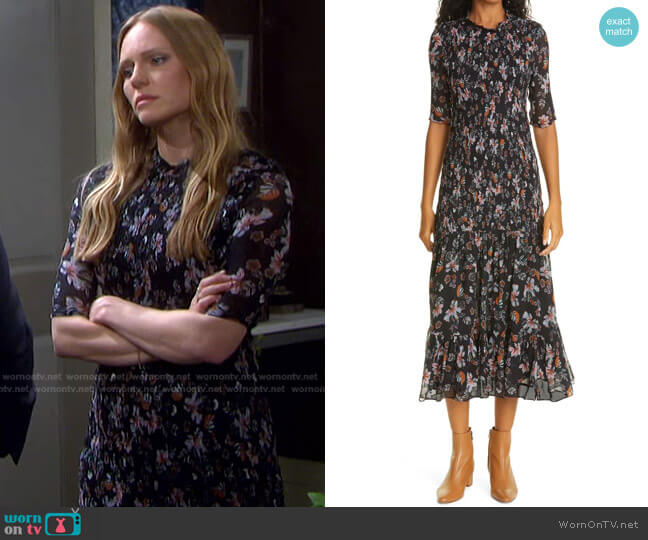 Gabi Floral Print Dress by Veronica Beard worn by Abigail Deveraux (Marci Miller) on Days of our Lives