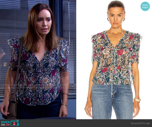 Gwendoline Top by Veronica Beard worn by Gwen Rizczech (Emily O'Brien) on Days of our Lives