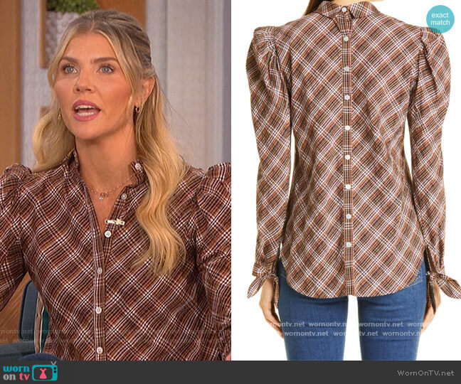 Isabel Puff Shoulder Top by Veronica Beard worn by Amanda Kloots  on The Talk