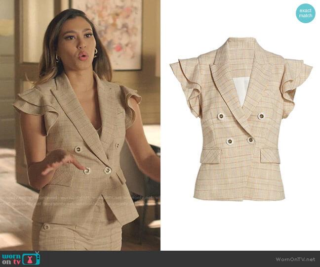 Janae Plaid Flutter-Sleeve Vest by Veronica Beard worn by Kara Royster on Dynasty