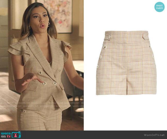 Pine Plaid Cotton & Wool Blend Shorts by Veronica Beard worn by Kara Royster on Dynasty