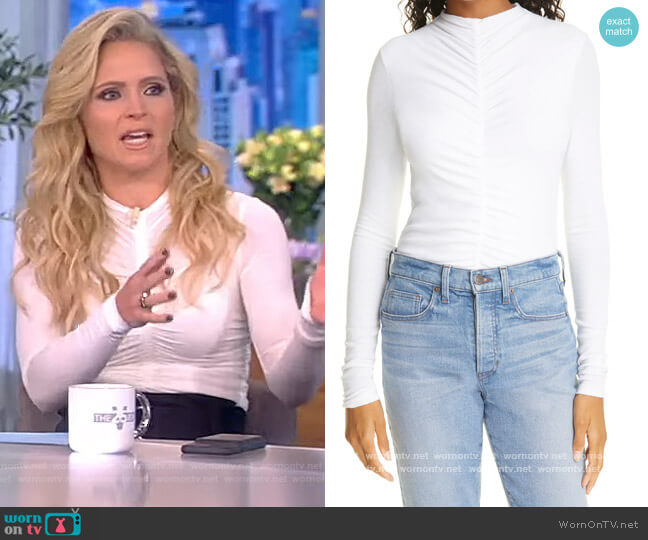 Theresa Center Ruched Knit Top by Veronica Beard worn by Sara Haines  on The View