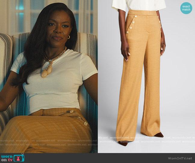 Eliora Pinstripe wideleg pants by Veronica Beard worn by Leah Franklin-Dupont (Nadine Ellis) on Our Kind of People