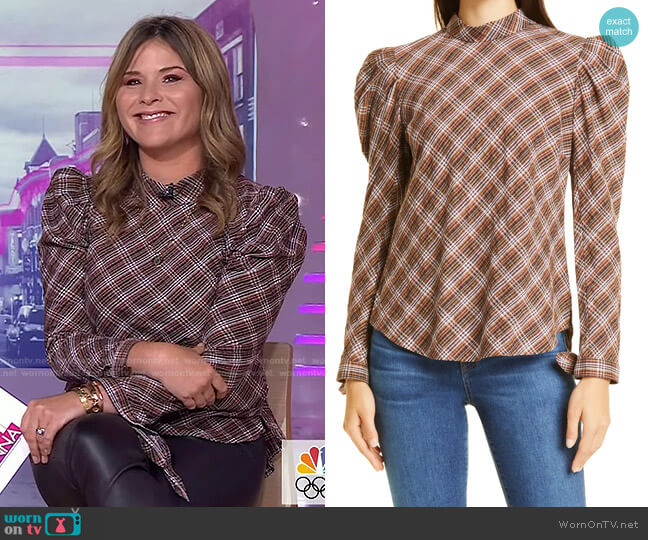 Isabel Puff Shoulder Top by Veronica Beard worn by Jenna Bush Hager  on Today