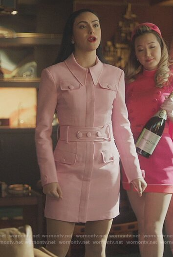 Veronica's pink belted mini dress on Riverdale