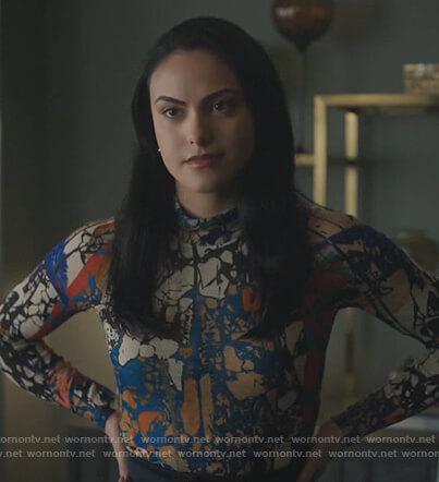 Veronica's splatter print top on Riverdale