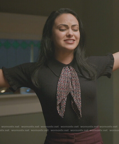 Polly's pink lace inset top on Riverdale