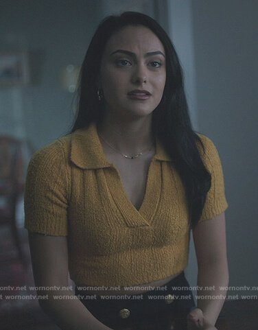 Veronica's yellow knit polo top on Riverdale