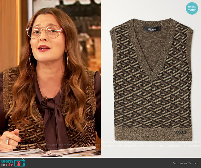 Embroidered metallic jacquard-knit tank by Versace worn by Drew Barrymore  on The Drew Barrymore Show