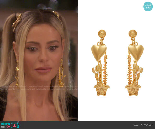 Metallic Medusa Safety-pin Metal Earrings by Versace worn by Dorit Kemsley  on The Real Housewives of Beverly Hills
